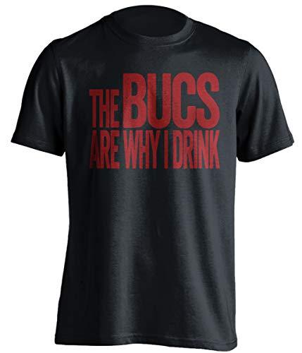 The Bucs are Why I Drink – Divertida camiseta de autoestima – Versión roja y peltre – Impresión de la muerte