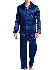 Nattkläder för män satäng pyjamas set nattkläder loungekläder