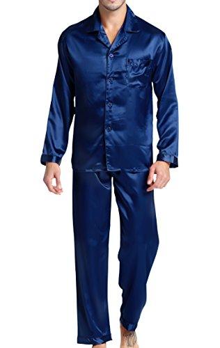 Herren Schlafanzug Pyjama Set Satin Nachtwäsche mit Langen Ärmel Loungewear (Blau, XL)
