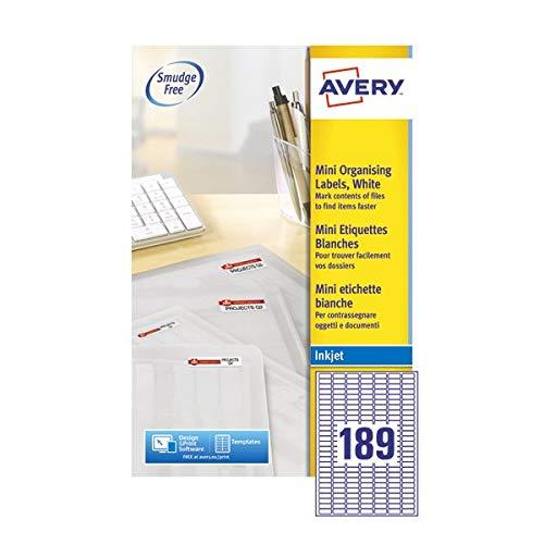 Avery J8658-25 Zelfklevende Mini Filing Labels, 189 Etiketten per A4 vel