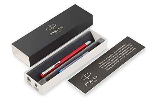 PARKER Vector pluma estilográfica, color rojo con adorno cromado, plumín mediano, tinta azul, en estuche de regalo
