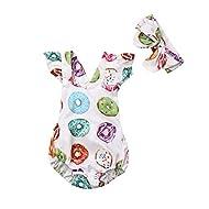 Newborn Baby Girls One Birthday Romper Colorful Doughnut Bodysuit Jumpsuit Headband Summer Outfit 0-24M