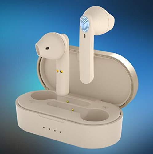 BEAUTTO Auriculares Inalámbricos Auriculares Bluetooth 5.0 con HD HiFi Auriculares Bluetooth Estéreo Cvc8.0 con Cancelación De Ruido 4 Horas De Reproducción con Micrófono Estuche De Carga De 300 Mah