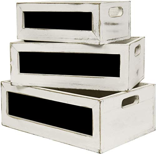 Whitewashed Wood Nesting Storage Crates with Chalkboard and Cutout Handles Rectangular Vintage product image