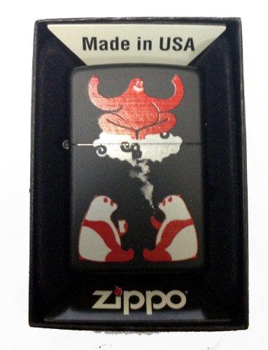 Zippo Custom Lighter - Cute Hallucinating Weed Smoking & Drinking Panda Bears w/Magical Red Genie Black Matte Rare!