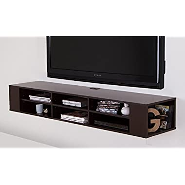 """South Shore City Life Wall Mounted Media Console - 66"""" Wide - Extra Storage - Chocolate"""