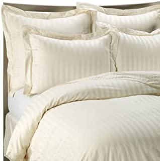 1400 Thread Count IVORY QUEEN Striped Luxury 8-Peices Bed-in-a-Bag Set -100% Egyptian Cotton