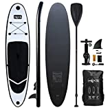 HIKS Black 10ft / 3m Stand SUP Board Set Inc Paddle, Pump, Backpack & Leash Suitable All Abilities Ideal Beginners Inflatable Paddleboard Kit - Best Reviews Guide