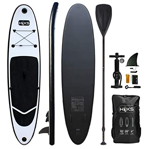 HIKS Black 10ft / 3m Stand SUP Board Set Inc Paddle, Pump, Backpack & Leash Suitable All Abilities...