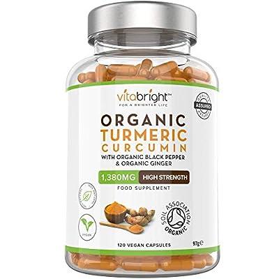 Organic Turmeric Curcumin 1380mg with Organic Black Pepper & Organic Ginger - 120 Vegan Capsules - High Strength Supplement - Certified Organic with Active Curcumin - Made in The UK