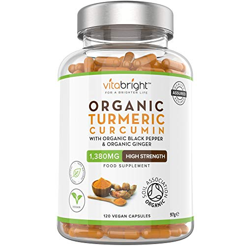 Organic Turmeric Curcumin 1380mg with Organic Black Pepper & Organic Ginger - 120 Vegan Capsules - High Strength Supplement - Certified Organic with Active Curcumin - Made in The UK