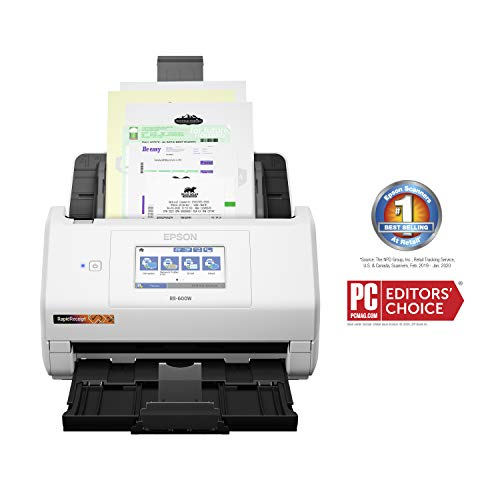 Epson RapidReceipt RR-600W Wireless Desktop Color Duplex Receipt and Document Scanner with Receipt Management and PDF Software for PC and Mac, Touchscreen and Auto Document Feeder (ADF)