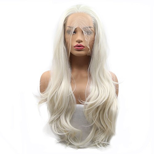 Pastel Rubio Pelucas Cintura Natural Drag Queen Ladies Cosplay Fiesta de onda larga Cabello sintético Pelucas delanteras del cordón para las mujeres Blanco Rubio Desgaste diario