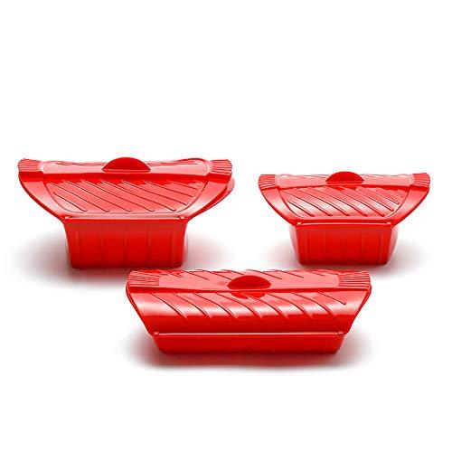 Cuiseur vapeur à micro-ondes en silicone avec poignée et filtre amovible avec cloison amovible, facile à ranger, sans BPA, ustensiles de cuisine pour micro-ondes (3 pièces) (rouge)