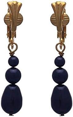 PORTIA Gold Plated Dark Purple Triple Clip On Earrings
