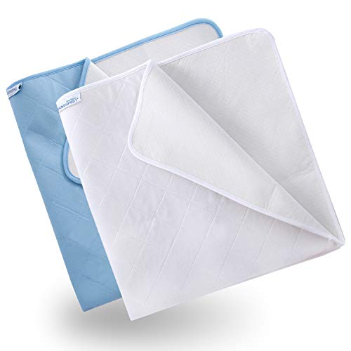 Incontinence Sheets 2 Pack (86 × 92cm), Washable Incontinence Pads for Bed Protection, Blue&White