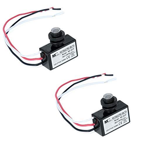 KOOBOOK 2Pcs AC 120-277V Photoelectric Switch Dusk to Dawn Button Flush Mount Photo Control Eye Switch Light Photocell Sensor