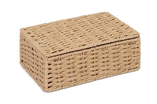 ARPAN Caja de almacenamiento de cuerda de papel natural con tapa, pequeña
