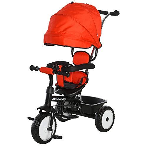 HOMCOM 2 in 1 Kinderdreirad Dreirad Kinder Fahrrad Rad Kinderwagen Schubstange Sonnendach Sicherheitsgurt 6-60 Monate Rot+Schwarz 78 x 47 x 99 cm