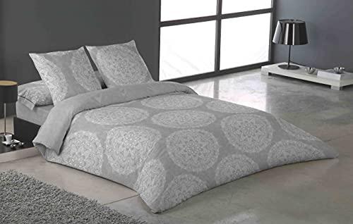 Funda Nórdica Duo Estambul de algodón ecológico 100% Gris D´A Gama Home Collection (180_x220_cm...