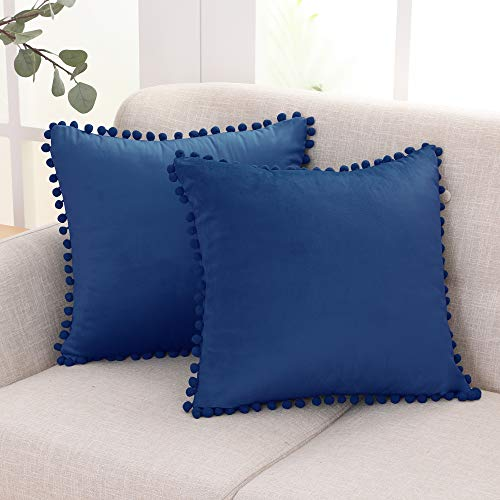 Deconovo Fundas de Almohadas Cojines Terciopelo Decorativas Hogar con Pelota para Sofás Dormitorio Pack de 2 60 x 60 cm Azul Marino
