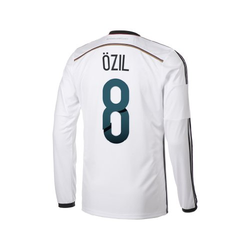 adidas Ozil #8 Germany Home Jersey World Cup 2014 (Long Sleeve) (2XL) White