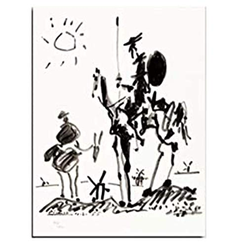 ZYHSB Don Quijote De Pablo Picasso Lienzo Pintura Pared Arte Cartel Cuadro Decorativo para Dormitorio Decoración del Hogar Kz689Xc 40X60Cm Sin Marco