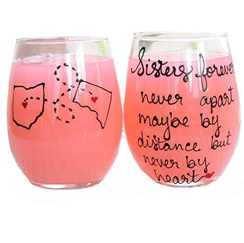 Sisters Long Distance Sister Wine Glass, Personalized Sister Gift, All Countries and States Available Hand Painted Stemless Wine Glass