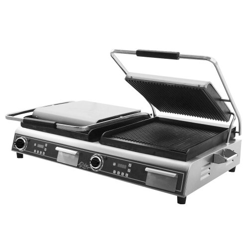 Learn More About Globe GPGDUE14D Deluxe Double Sandwich Grill with Grooved Plates - 7200W - Restaura...