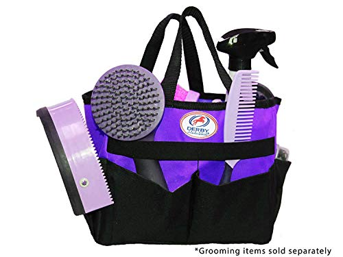 Derby Originals 600D Nylon Horse/Dog Grooming Tote Caddy Bag with 6 Pockets & Elastic to Secure Items (Purple)