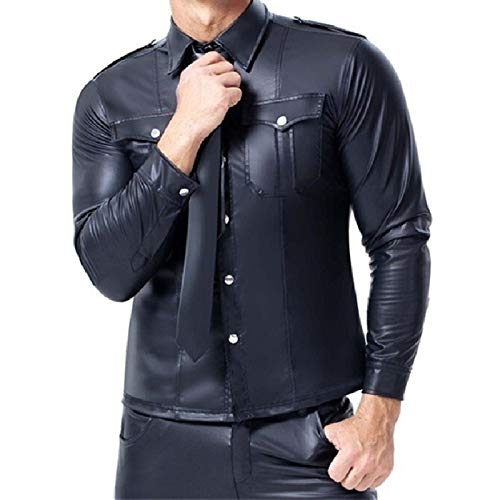 MUMUWUEUR Tallas Grandes Sexy Men's Top Lendher Catsuit Latex Top Tanks PU Camisas con Escenario de Bolsillo Ropa de Club lencería Hombres (Color : Black Top Shirt, Size : S)