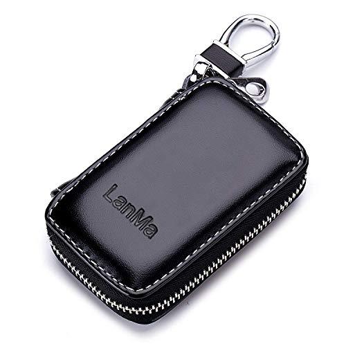 LanMa Car Key Case Holder Leather Car Key Chain Bag Car Remote Key fob for car Keychain Zipper Bag - Black