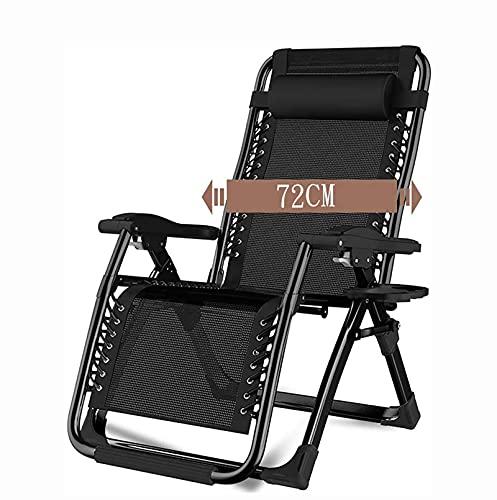 BBSC Cama Plegable portátil de Oficina, sillón reclinable Plegable para el hogar, Tumbona de Camping al Aire Libre con balcón Ajustable, con portavasos y cojín extraíble B