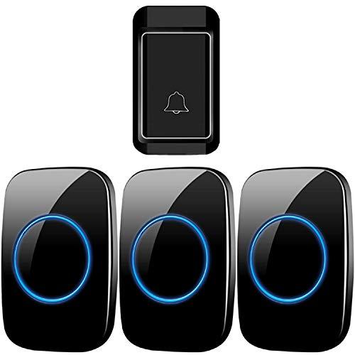 Ringdoors Wasserdichte Funkklingel Ohne Batterie, 1 Sender + 3 Empfänger, 300 M Reichweite, 38 Melodien, 4 Lautstärke Einstellbar - Schwarz