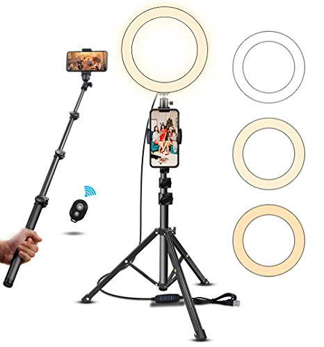 10'' Selfie Ring Light with Tripod Stand & Cell Phone Holder for Live Streaming/Makeup - Led Camera Ringlight for YouTube Video Recording Compatible for iPhone Android