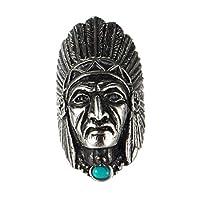 UMtrade メンズ ステンレス鋼 グリーン石ネイティブ アメリカ人 インド人頭蓋骨リング ブラック シルバー