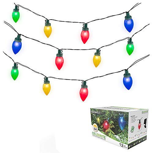 Solar LED Christmas Bulb String Lights, 20 Feet, 12 Vibrant LED's, Perfect for Holiday Decor or Party Indoor Outdoor Lights - Multi-Colored, 1 Pack