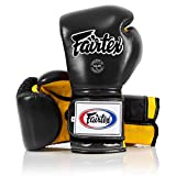 Fairtex Muay Thai Boxing Gloves BGV9 - Heavy Hitter Mexican Style - Minor Change Solid Black 12 14 16 oz. Training & Sparring Gloves for Kick Boxing MMA K1 (16 oz, Red/White Piping)