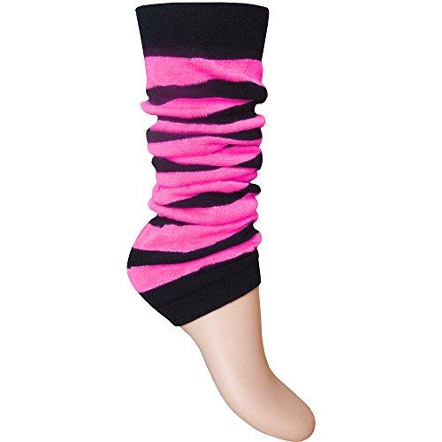 Stulpen für Damen und Mädchen, gestreift, fluoreszierende Neonfarben  Gr. Einheitsgröße, Black & Neon Pink