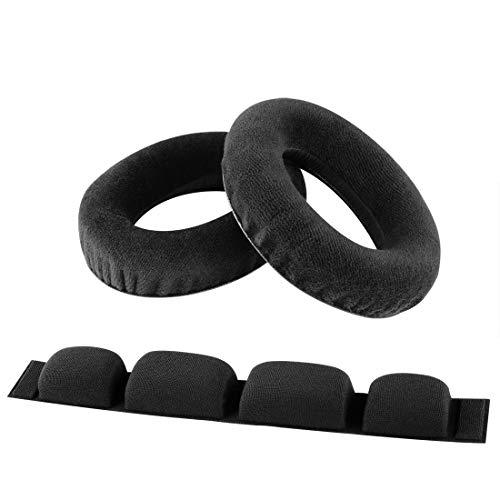 Geekria Almohadillas de repuesto para auriculares Senheiser HD580 HD600, almohadilla para la oreja, cojín para la cabeza y piezas de reparación (almohadilla de terciopelo/diadema de gamuza)