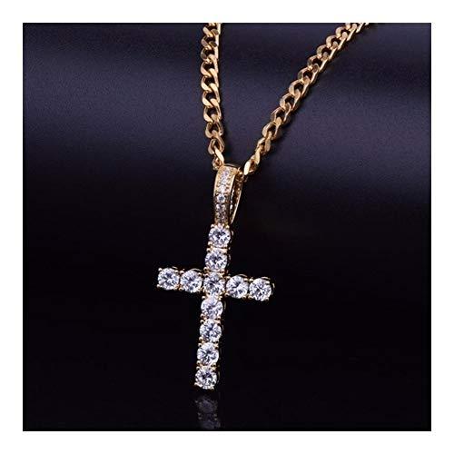LDGR Collar del Estilo de circonio cúbico egipcia Collar Colgante de Hip Hop Cruz Micro Pave con 18inch / 20inch / 24inch / 30inch Cadena Retro Delicado