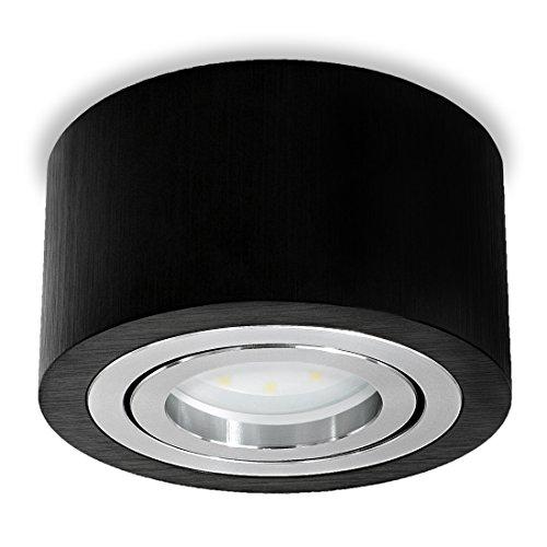 SSC-LUXon® runder LED Aufbauspot Schwarz (flach, Alu, schwenkbar) - Aufbaustrahler Ø 90 mm inkl. 5W LED-Modul warmweiß 230V