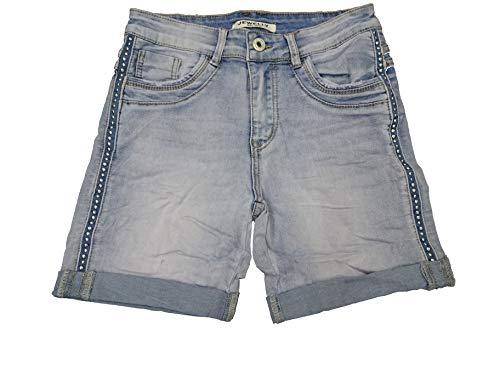 Denim Krempel Boyfriend Baggy Stretch Shorts Bermuda Knöpfe offene Knopfleiste (Weitere Farben) (S-36, Nieten Zip)