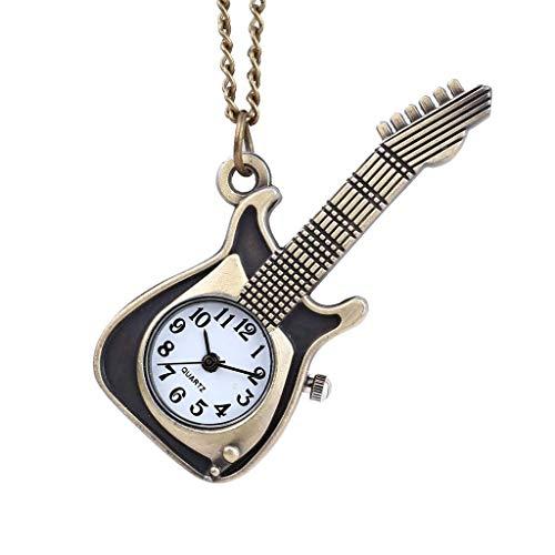 DSHUJC Persönlichkeit Classic Retro Quarz Uhr Punk Gitarre Pocket Watch Halskette Pocket Fob Uhren Kette Männliche Uhr