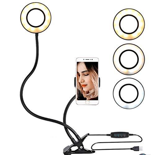 JCJ-Shop Escritorio con Clip USB con Soporte para Teléfono Celular Y Lámpara con Bluetooth Anillo De Luz LED para Transmisión En Vivo Clip De Maquillaje En Brazos Flexibles Negro/Blanco