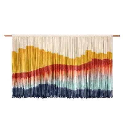 Material - Macrame Teñido de tintura borlas de tapicería Uso de la cuerda 100% de hilo de algodón natural y vara recta de eucalipto. La fabricación de tapicería, por un artesano experto en el método tradicional, el tejido de la mano con un cable de a...