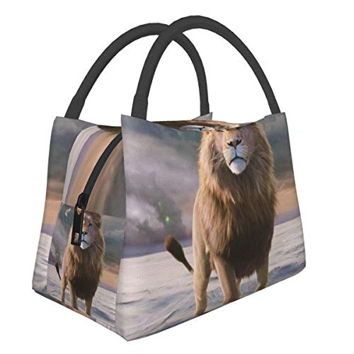 Portable Bento Picnic Bags Lunch Bag Lion Movie The Chronicles of Narnia The Lion The Witch and The Wardrobe Multifunctional Zipper Package for School Work Office Handbag Bento Insulation Lunch Box
