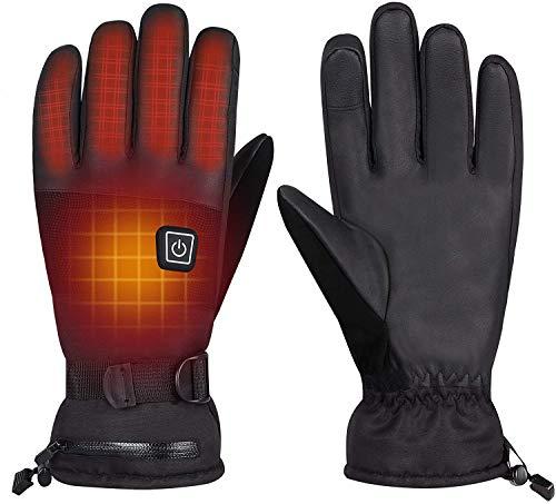 Beheizbare Handschuh 7.4V/4000mAh Winterhandschuhe Herren Damen 3-Stufen Temperaturregelung für Arbeiten im Freien Skifahren, Motorrad