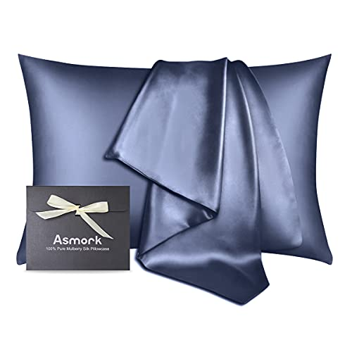 Asmork 100% Mulberry Silk Pillowcase for Hair and Skin, Both Side 19 Momme Real Silk, Hidden Zipper Washable Pure Silk Bed Pillowcase Covers, Envelope Gift Box,1PC (Flint Blue, Standard 20''×26'')