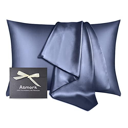Asmork 100% Mulberry Silk Pillowcase for Hair and Skin, Both Side 19...